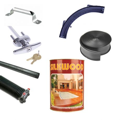 Garage Doors Handles, Curves, Torsion Pole and Springs, Weather Seals and Oils